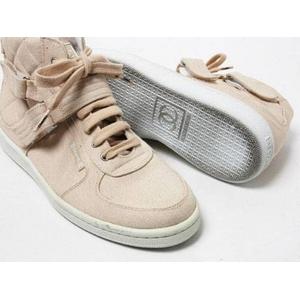 【現品限り】Chanel(シャネル) スニーカー キャンバス ベージュ #38 【中古SA】