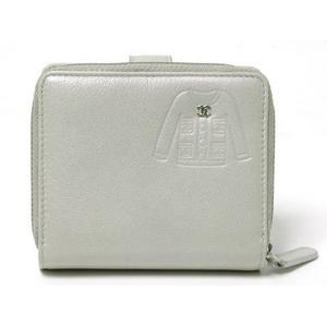 【現品限り】CHANEL(シャネル) Wホック財布 ジャケットモチーフ シルバー 【中古SA】