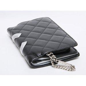 【美品 現品限り】 CHANEL [シャネル] カンボンライン 2つ折財布 ブラック/シルバー A50080 【新品同様】