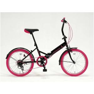 20インチ 折り畳み自転車カラータイヤモデル 外装6段変速付 ブラック×ピンク GFD-206TPK
