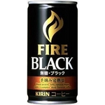 キリン FIRE ファイア ブラック 手摘み完熟豆 185g缶 180本セット (6ケース)