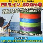 PEライン 300m巻 釣り糸 釣糸 5色 マルチカラー 8本編み 8本撚り 1.0号 1.2号 1.5号 2.0号 3.0号 3.5号 5.0号 6.0号