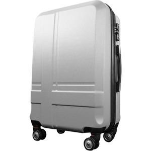 スーツケース 中型4-6日用 Mサイズ キャリーケース 超軽量 TSAロック搭載 大容量 ダブルファスナー 8輪キャリーバッグ 頑丈 人気色 シルバー