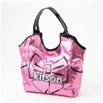 kitson(キットソン) スパンコールバッグ リボンプリント SEQUIN BOW TOTE Pink×Black