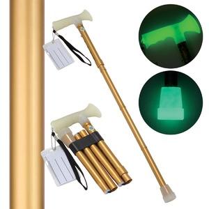 折たたみ式ステッキ 杖ぼたる 【ゴールド(金)】 蓄光タイプ 長さ5段階調節可