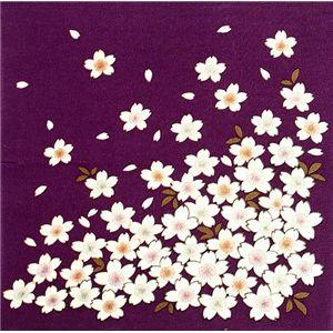 友禅縮緬風呂敷中巾 桜 紫