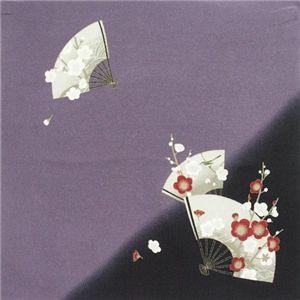 友禅縮緬風呂敷二巾 扇面梅に鶯 紫