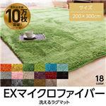 E×マイクロファイバー洗えるラグマット (200×300cm) エメラルドグリーン