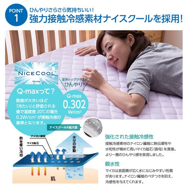 接触冷感ナイスクール素材使用アウトラスト(R)快適快眠クール敷パッド クィーン ブルー