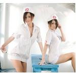 コスプレ 白のナース服 キャップ付看護婦のコスチューム
