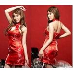 コスプレ 赤色のチャイナドレス 胸元セクシー艶やかワンピ