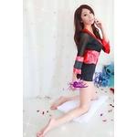 コスプレ 赤×黒の豪華着物 浴衣 和物 袖シースルー