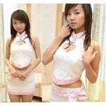 コスプレ チャイナドレスセット 白×ピンクコスチューム