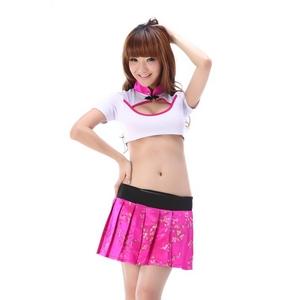 コスプレ 花柄ミニスカートチャイナドレス上下セット 胸元セクシー