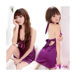 ランジェリー リボン付紫のベビードール ワンピ