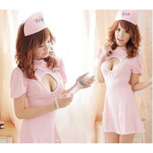 コスプレ ナース服*背中蝶リボンピンクの看護婦コスプレ