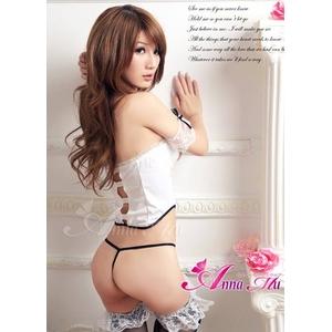 コスプレ ランジェリー 2011新作 胸元編上げセクシービスチェ&Tバック