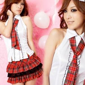 コスプレ 赤チェックスカートの学生服 (3点入り)