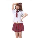 コスプレ ネクタイリボンのスクール 学生服【赤チェック】