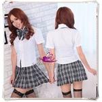 コスプレ 蝶リボンのスクール 学生服【黒×白】