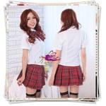 コスプレ 蝶リボンのスクール 学生服(赤)