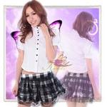 コスプレ 黒リボン&レース添えスカートの学生服