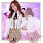 コスプレ (長袖)リボン&2層パニエスカートの学生服
