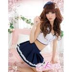 白ライン添えスカートの女子高校制服・学生服・コスプレ