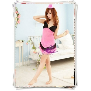 黒×チェリーピンクの透け透けベビードール&Tショーツ・ランジェリー