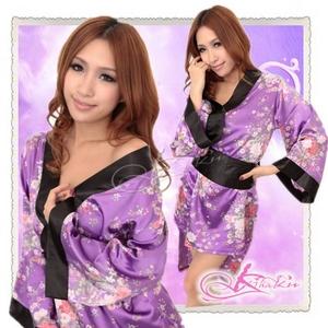 帯付花柄仕上げ紫の浴衣・着物コスプレ【2点入り】
