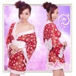 花柄仕上げ透け透け赤の浴衣・着物コスプレ【3点入り】
