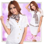 白/彩りマフラー付女子教師コスプレ・OL制服