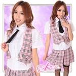 コスプレ ネクタイ&ベスト付スクールコスプレ・学生服【ピンク】 6084