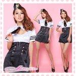 黒リボン付婦人警官さんコスプレ(4点)【黒×白】