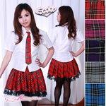 【レッド】チェックのスクールコスプレ・学生服/6102