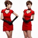 【コスプレ・コスチューム】グローブ付赤のチャイナドレス&Tショーツ/1070 【4点セット】
