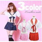 3colorピンク  リボン付 セーラー服 コスプレ 学生服【6111】
