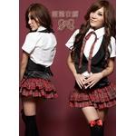 2010年新作☆赤チェック☆ミニスカ女子制服コスプレ4点セット コスチューム