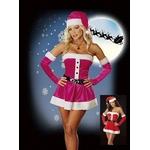 コスプレ ベルト付チェリーピンクのクリスマスサンタさんコスプレ 3608