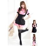 コスプレ 【メイド服】リボンとエプロン付ピンクのコスプレ 5432