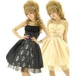 キャバ ドレス フロントリボン銀糸華チュール前開きタフタ姫ミディドレス 黒