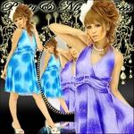 二次会 ドレス カラフルマーブルグラデーションパーティーミニドレス パープル