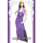 キャバ ドレス ブラトップ付ドレープxサイド セクシーレースホルターロングドレス 白