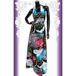 キャバ ドレス ロングドレス 孔雀MIXオリエンタル×カラフルビジュラインサテンロング 黒