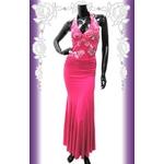 キャバ ドレス ウエストシャーリングビューティースパン刺繍ゴージャスドレス チェリーピンク