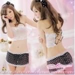 ランジェリー 水玉柄のベビードールとスカート一体ショーツ・ランジェリー(黒×白・2点)