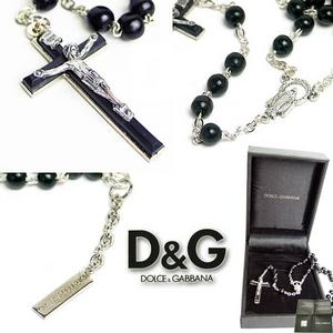 Dolce&Gabbana(ドルチェアンドガッバーナ) ロザリオ クロスネックレス ブラック 2AW NC17 ARPL 0999 PZ