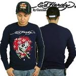 Ed Hardy(エドハーディー) メンズ 長袖 Tシャツ BEAUTIFUL GOST ビューティフル ゴースト/ ネイビー【R0DEAAZY】 M