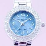【ラッピング費用込み】 ダイヤモンド100石合計0.4カラット ジュエリーウォッチ ブルー