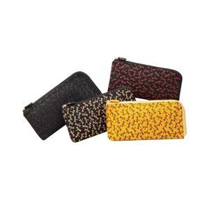 鹿革印傳本漆(トンボ柄) L型長財布 (ブラック× ベージュ)
